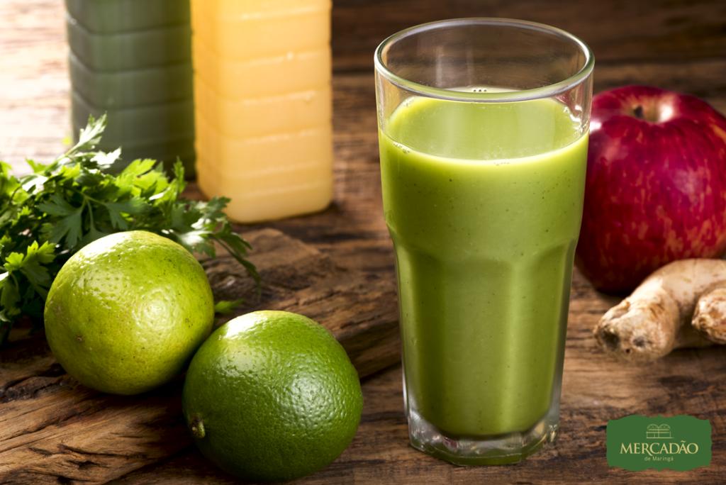 Na imagem, o suco verde delicioso do Armazém Mineiro para a segunda edição do Mercadão Week.