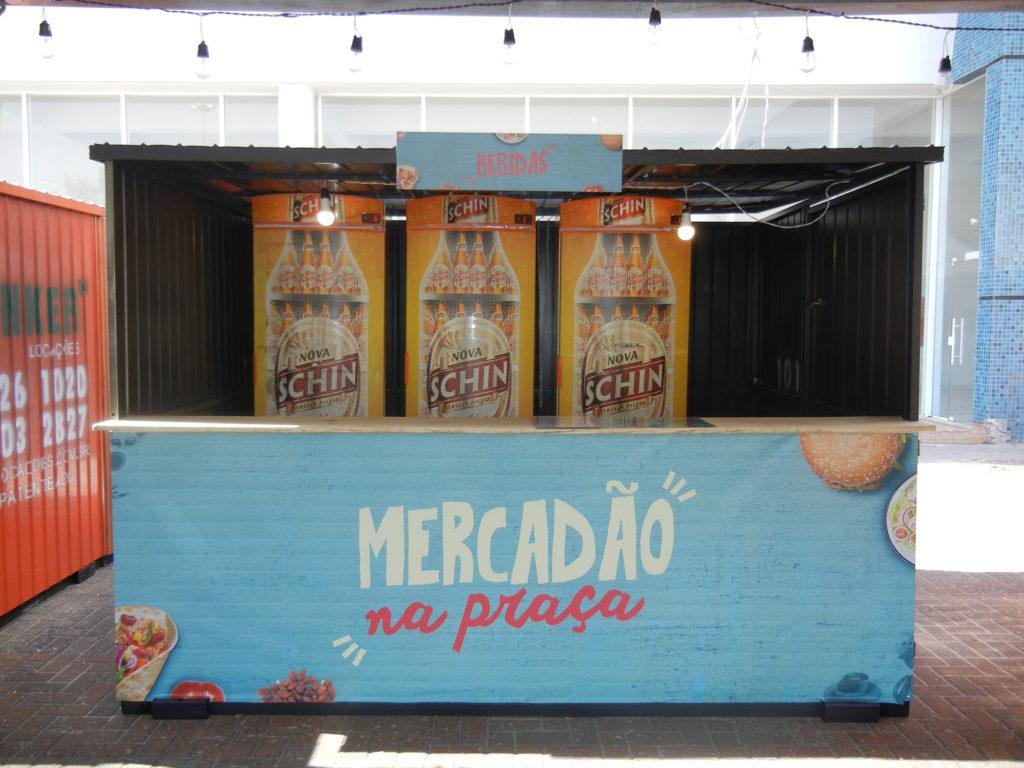 Na imagem, o container de bebidas do Mercadão na Praça.
