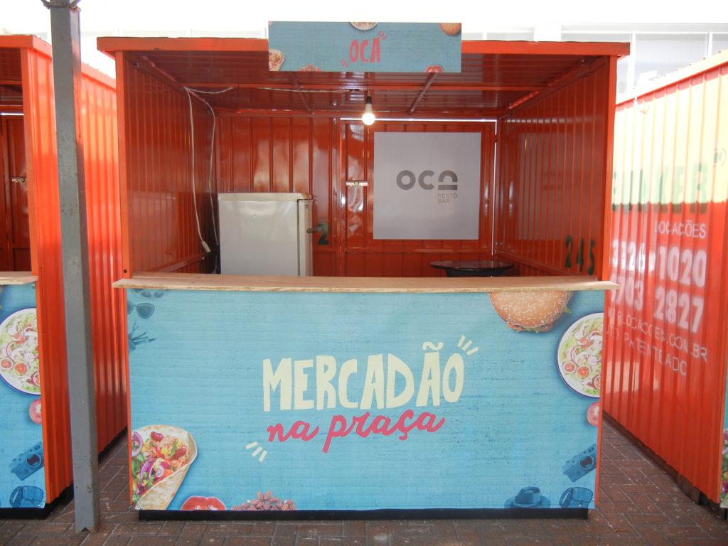 Na imagem, o container do Oca Restô Bar para o Mercadão na Praça.