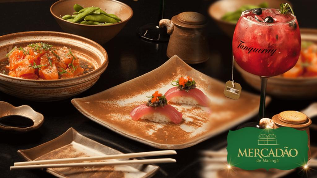Daásu Sushi Bar - Salmão ao molho de ostras, niguiri de atum trufado, edamame, com gin de frutas vermelhas.