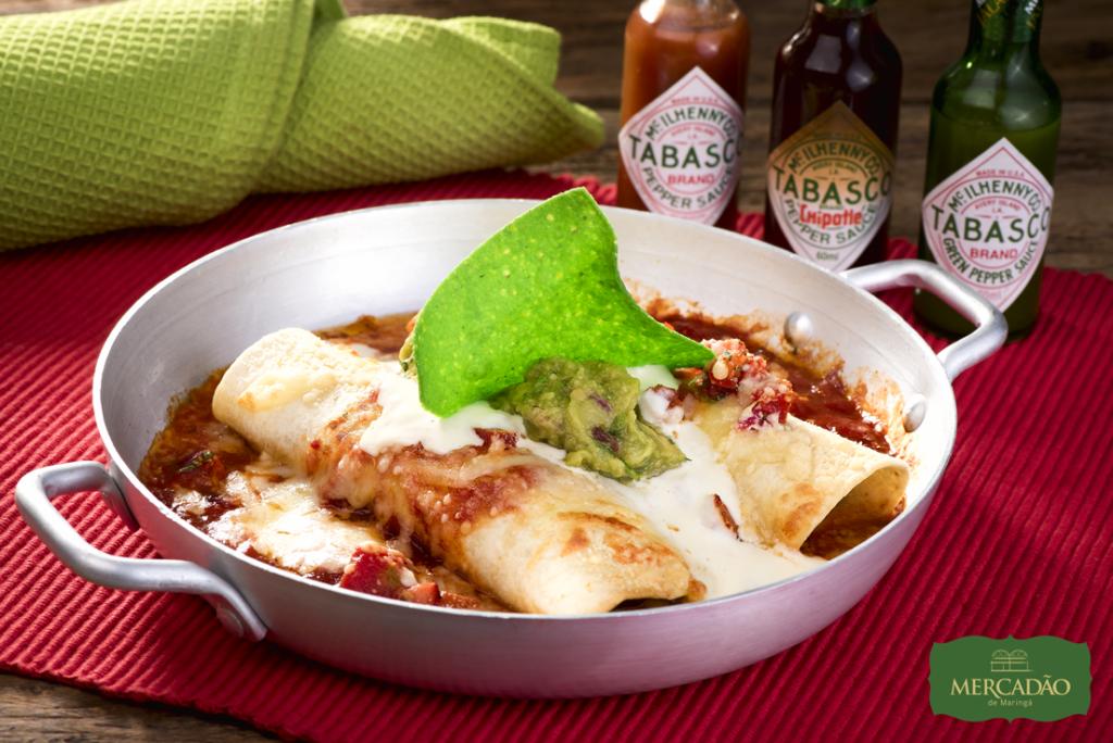 Na imagem, as deliciosas Enchiladas de carne, frango ou beef do Gallo Loco para a segunda edição do Mercadão Week.