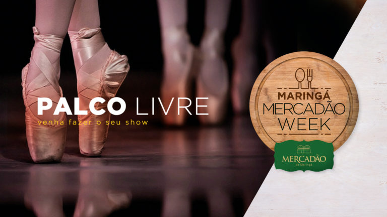 Na imagem, a identidade visual do Palco Aberto do Mercadão Week, com a imagem de bailarinas dançando.