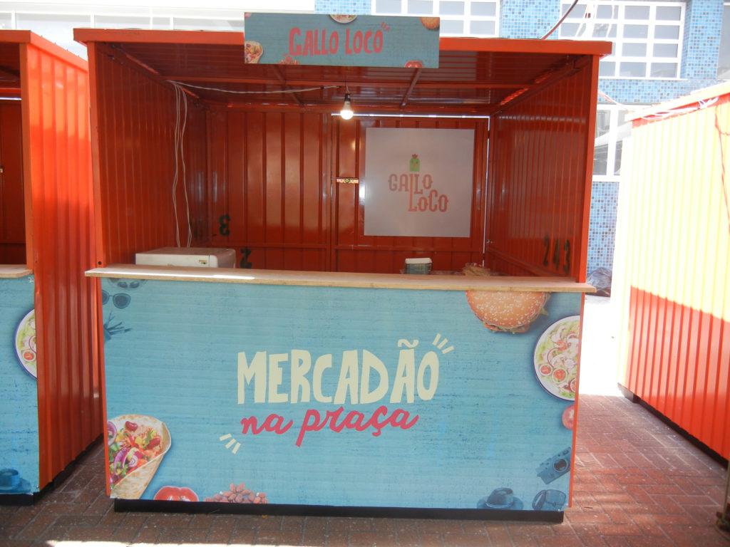 Na imagem, o container do Gallo Loco para o Mercadão na Praça.