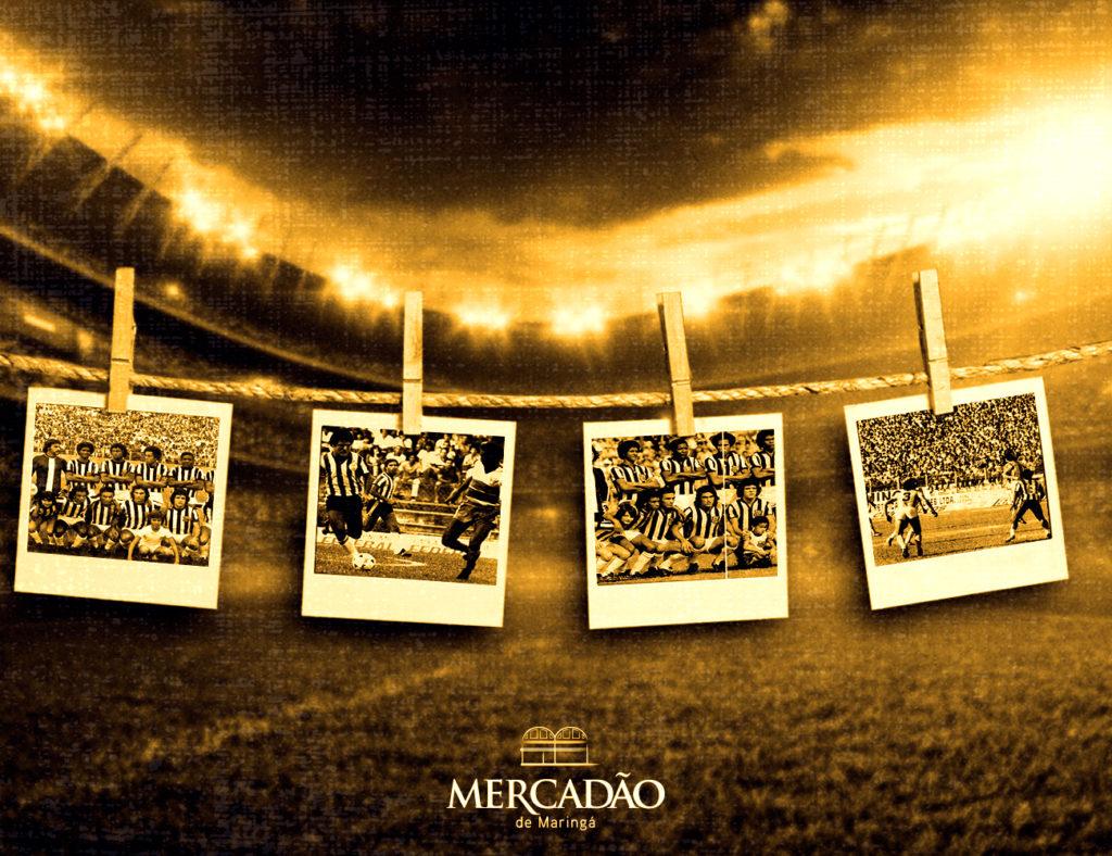 Na imagem há um varal de fotos do Grêmio Maringá, ilustrando a exposição do time que está no Mercadão de Maringá.